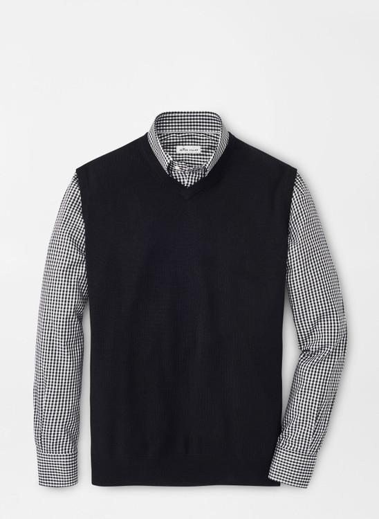 Crown Soft Merino-Silk V-Neck Vest in Black by Peter Millar