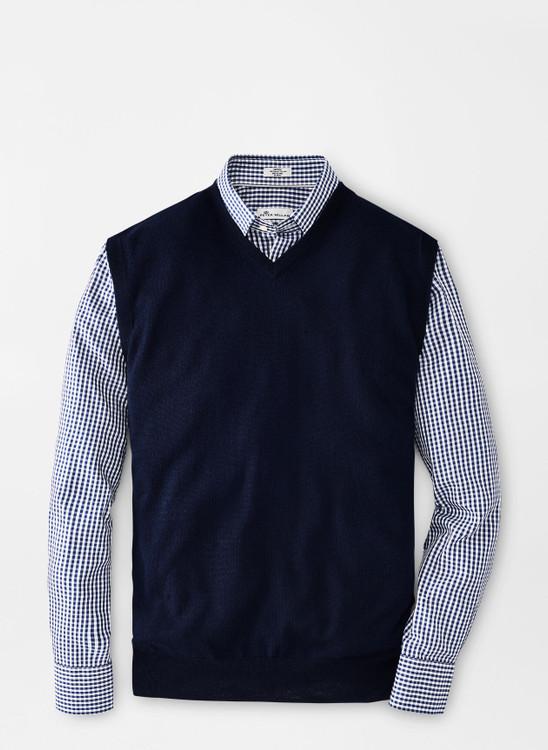 Crown Soft Merino-Silk V-Neck Vest in Navy by Peter Millar