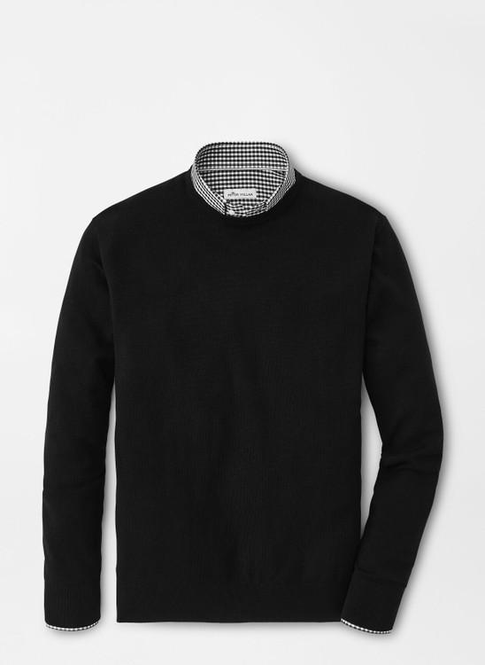 Crown Soft Merino-Silk Crewneck Sweater in Black by Peter Millar