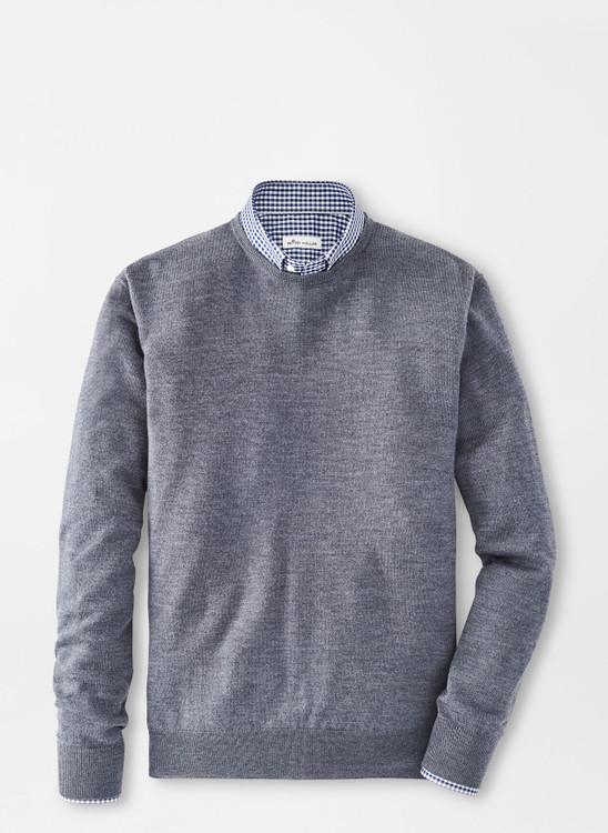 Crown Soft Merino-Silk Crewneck Sweater in Charcoal by Peter Millar