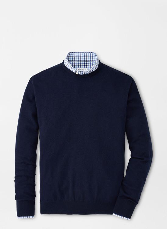 Crown Soft Merino-Silk Crewneck Sweater in Navy by Peter Millar