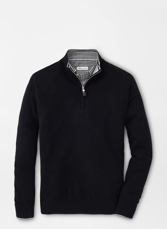 Crown Soft Merino-Silk Quarter-Zip Sweater in Black by Peter Millar
