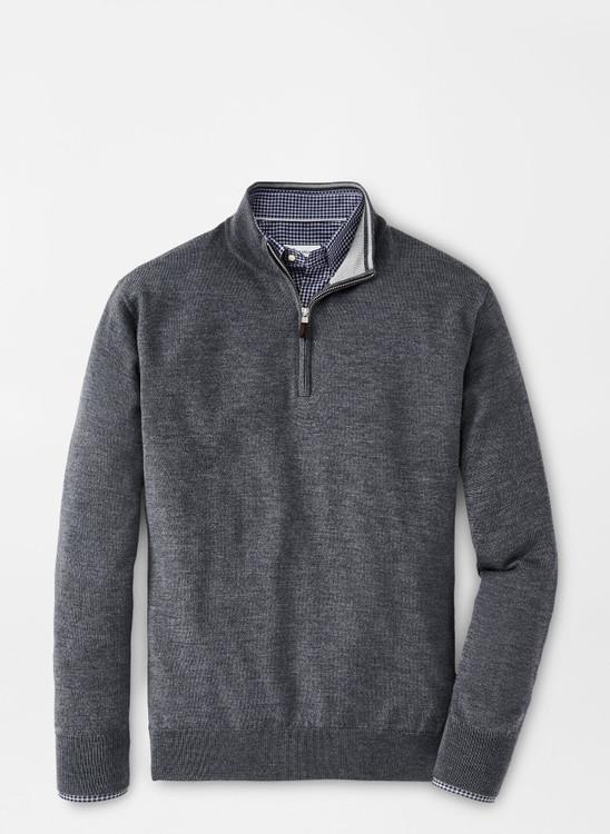 Crown Soft Merino-Silk Quarter-Zip Sweater in Charcoal by Peter Millar