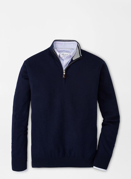 Crown Soft Merino-Silk Quarter-Zip Sweater in Navy by Peter Millar