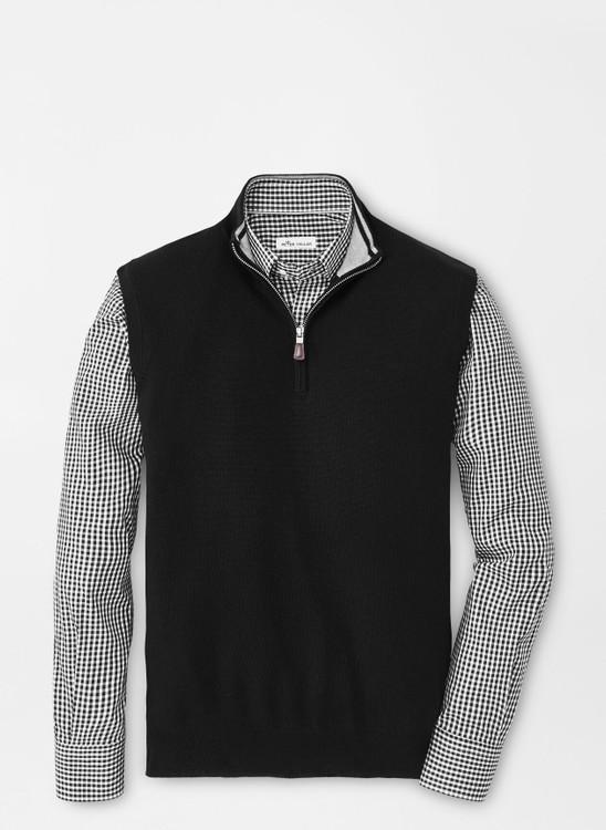 Crown Soft Merino-Silk Quarter-Zip Vest in Black by Peter Millar