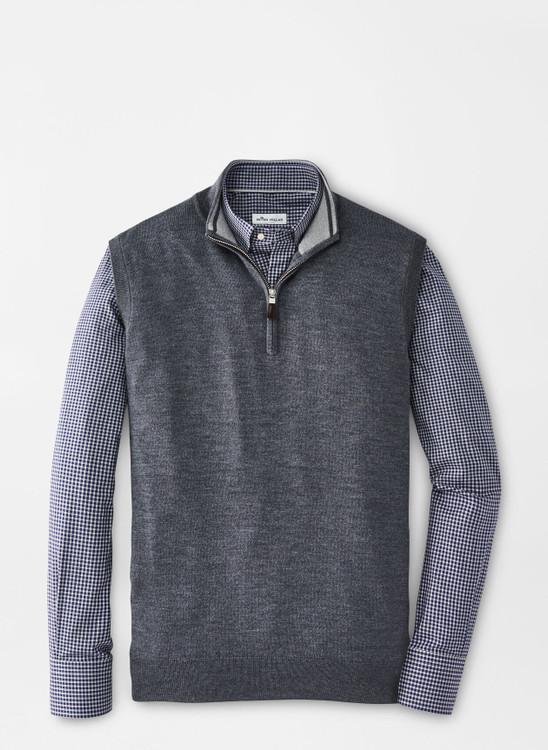 Crown Soft Merino-Silk Quarter-Zip Vest in Charcoal by Peter Millar