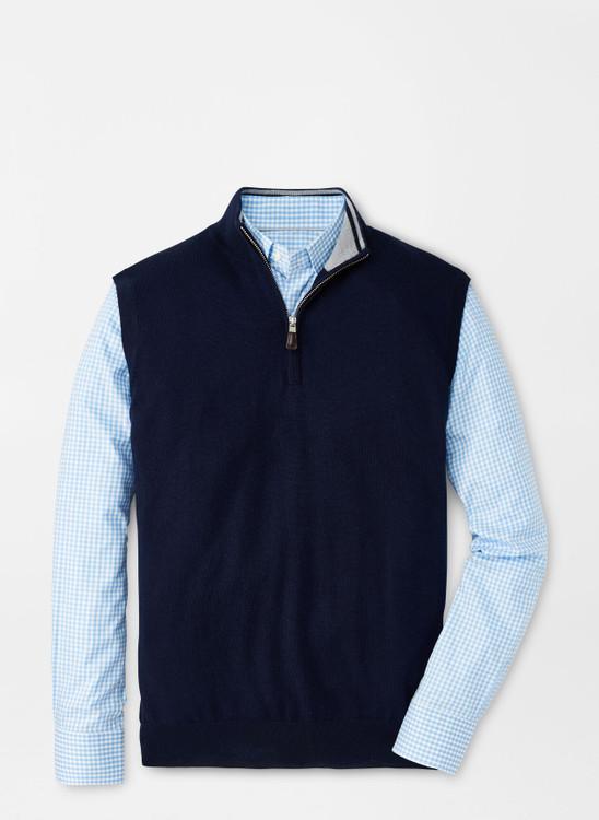 Crown Soft Merino-Silk Quarter-Zip Vest in Navy by Peter Millar