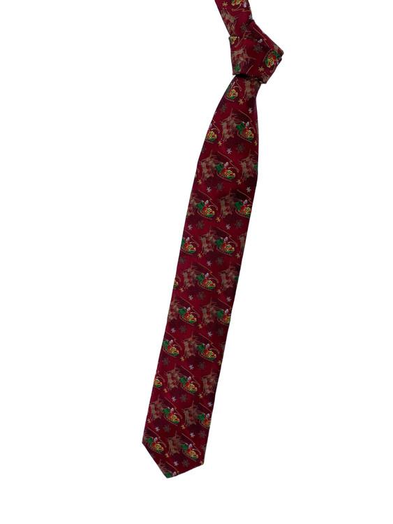 Holiday Santa and Reindeer Woven Silk Tie in Burgundy by Robert Talbott