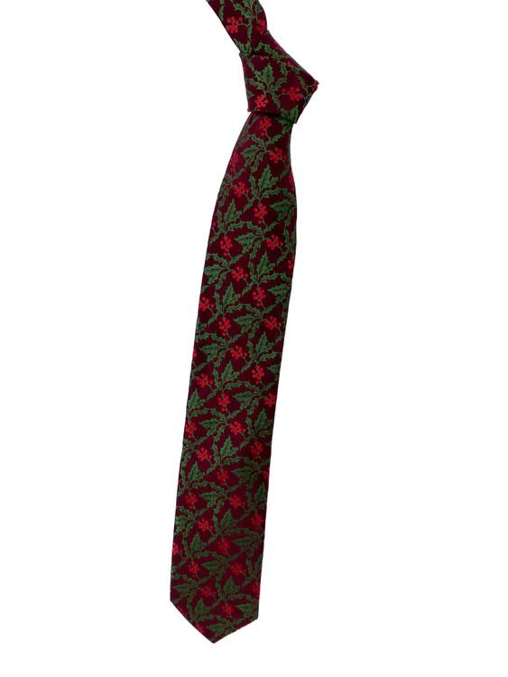 Holly Berry Holiday Woven Silk Tie in Burgundy by Robert Talbott