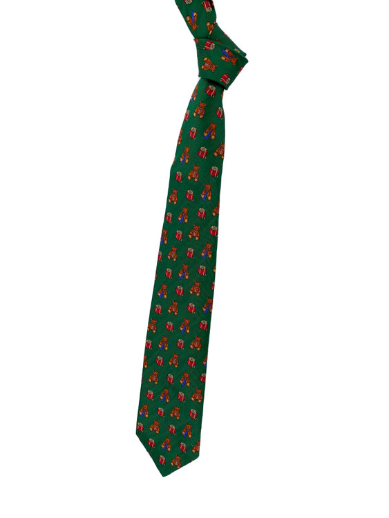 Holiday Bears and Gifts Woven Silk Tie in Green by Robert Talbott