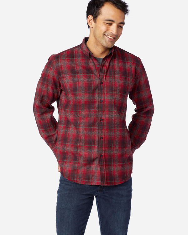 Oxford, Black and Red Ombre Fireside Shirt by Pendleton