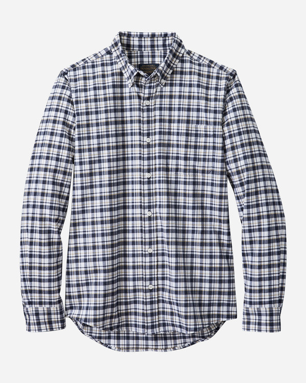 Fitted Evergreen Stretch Merino Shirt in Navy, Gold Plaid by Pendleton