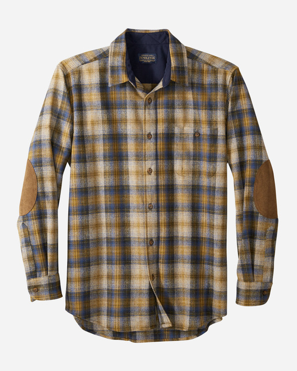 Elbow-Patch Trail Shirt in Olive, Blue and Bronze by Pendleton