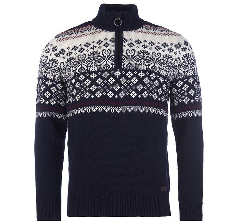 Fairisle Half Zip Sweater in Navy by Barbour