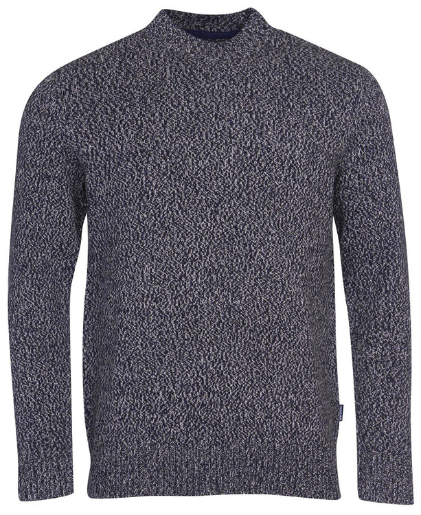 Sid Crew Neck Sweater in Navy Marl by Barbour