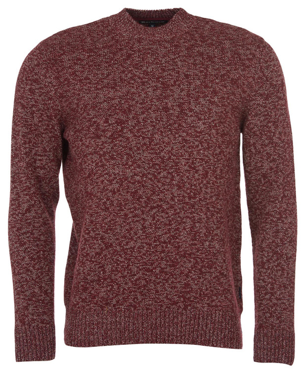 Sid Crew Neck Sweater in Crimson Marl by Barbour