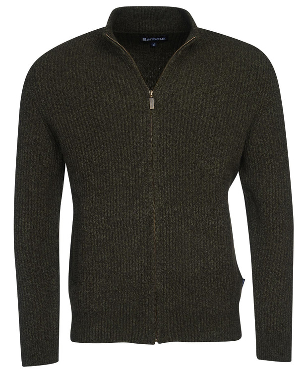 Bailer Zip Thru Sweater in Dark Olive by Barbour