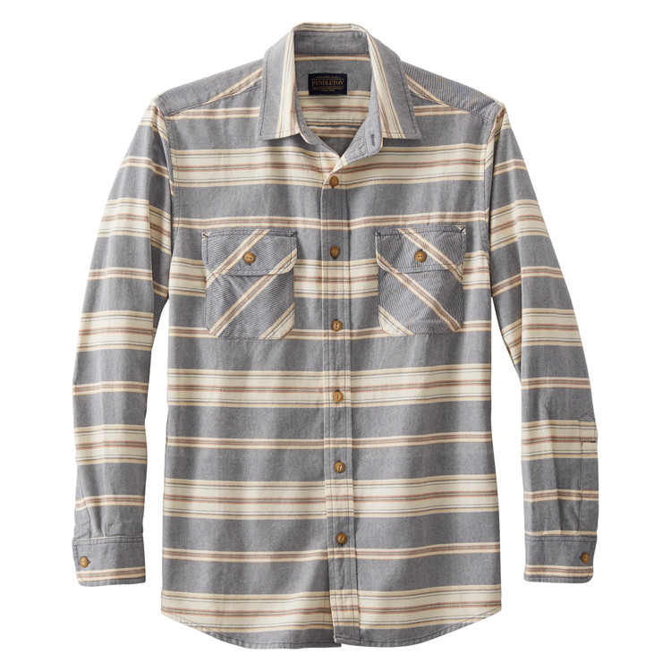 Beach Shack Shirt in Indigo, Rust Stripe by Pendleton
