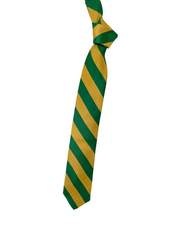 Green and Gold Stripe Woven Silk Tie by Robert Talbott