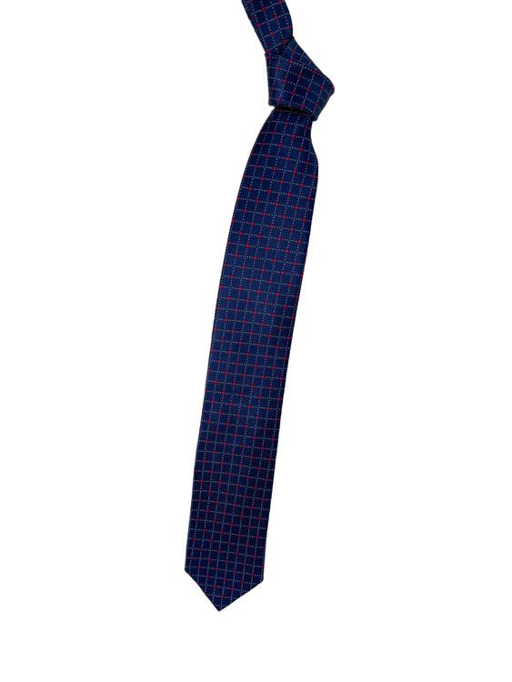 Navy and Red Geometric Woven Silk Tie by Robert Talbott