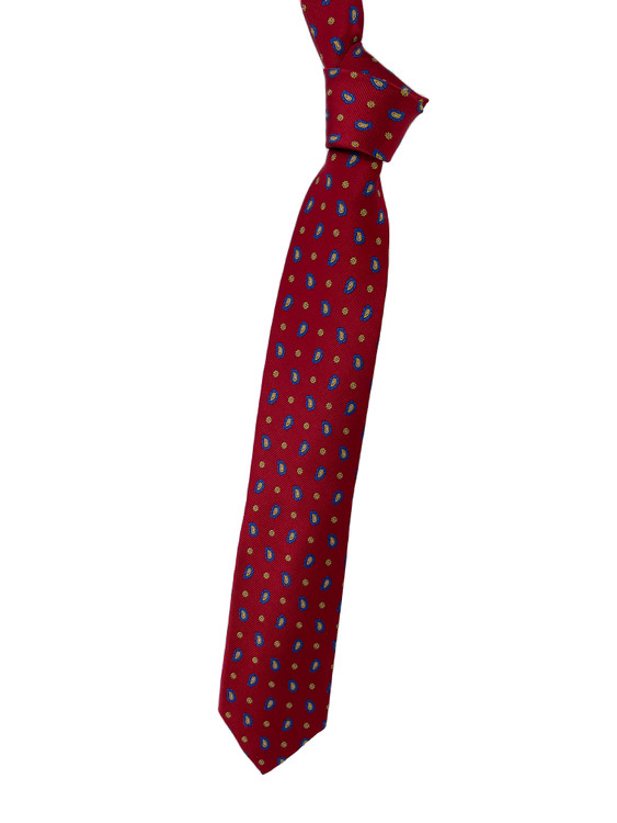 Red, Royal Blue and Gold Neat Woven Silk Tie by Robert Talbott