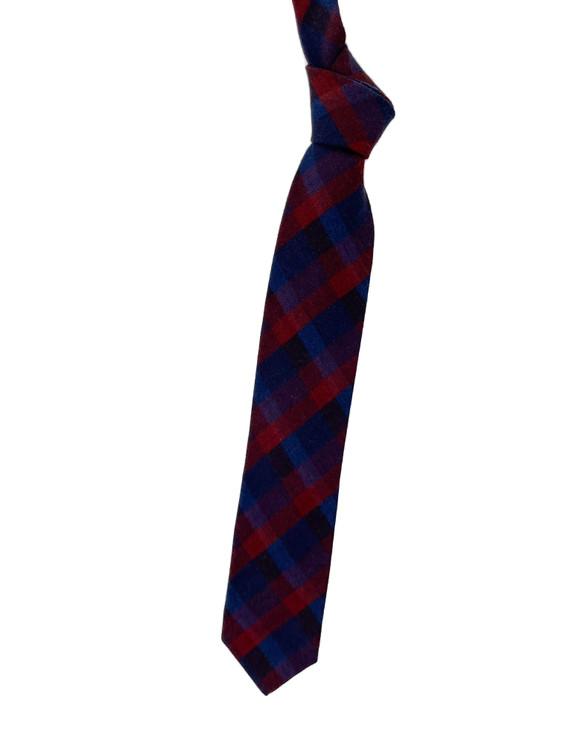 Best of Class Navy and Maroon Plaid Woven Silk Tie by Robert Talbott