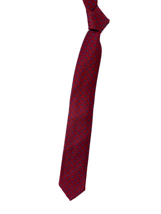 Maroon and Blue Geometric Seven Fold Woven Silk Tie by Robert Talbott