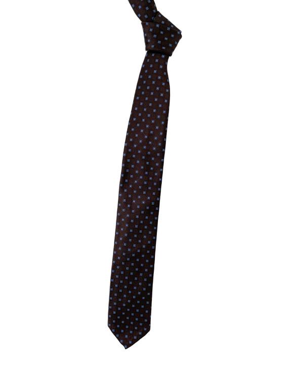 Brown and Light Blue Geometric Seven Fold Woven Silk Tie by Robert Talbott