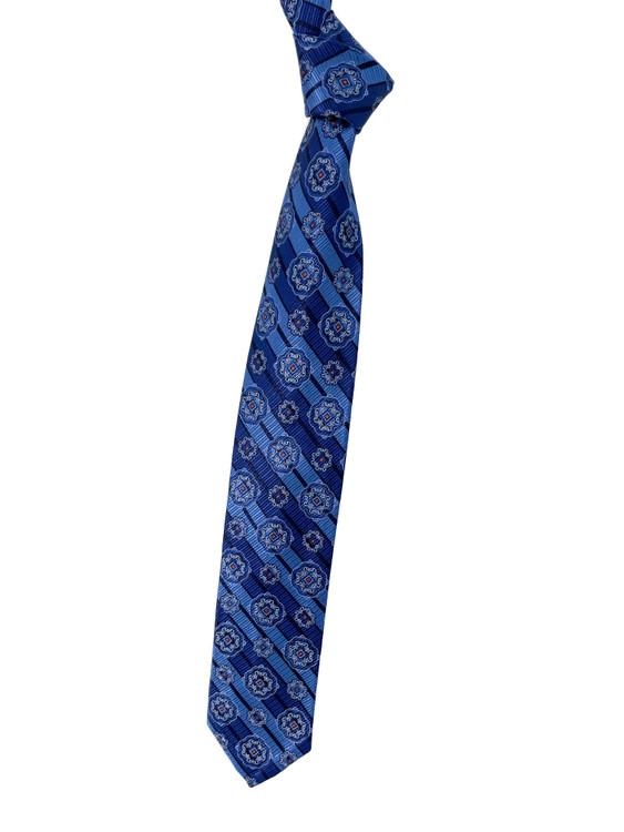 Navy, Blue and Orange Medallion Seven Fold Woven Silk Tie by Robert Talbott