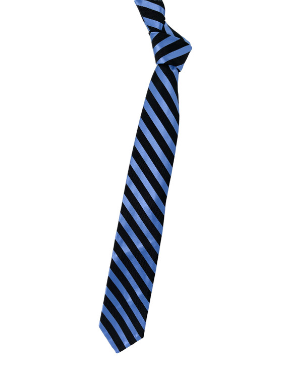 Navy and Light Blue Stripe Seven Fold Woven Silk Tie by Robert Talbott