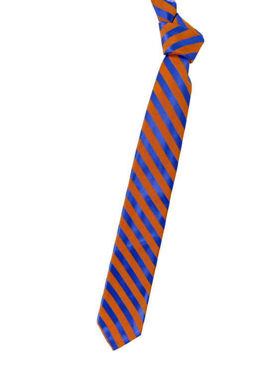 Orange and Blue Stripe Seven Fold Woven Silk Tie by Robert Talbott