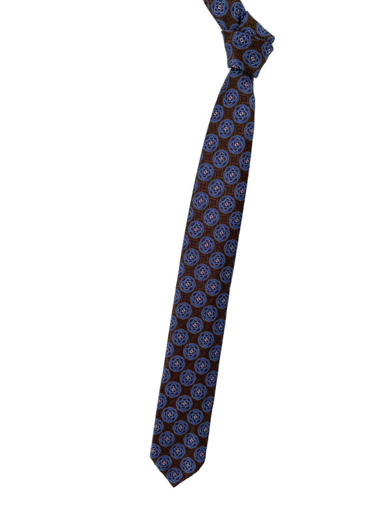 Brown, Blue and Red Medallion Seven Fold Woven Silk Tie by Robert Talbott