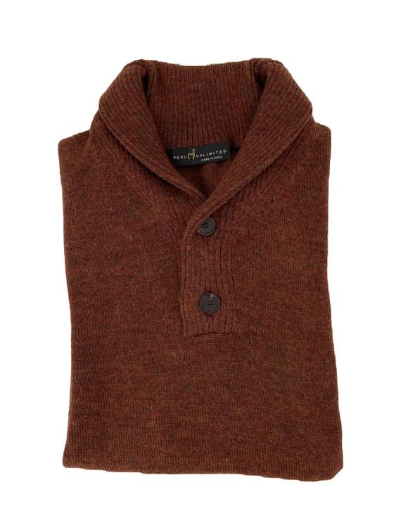 Royal Alpaca Jersey Stitch 2-Button Shawl  Sweater in Rust Heather by Peru Unlimited