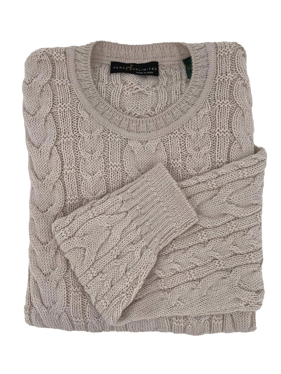 Baby Alpaca Cable Stitch Crew Neck Sweater in Natural by Peru Unlimited