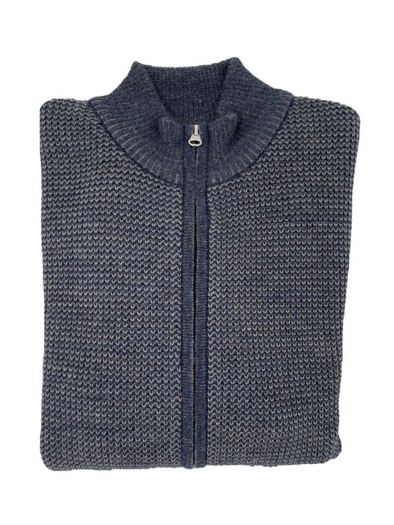 Royal Alpaca Houndstooth Jacquard Stitch Full Zip Sweater in Midnight Heather/Sky Grey Heather by Peru Unlimited