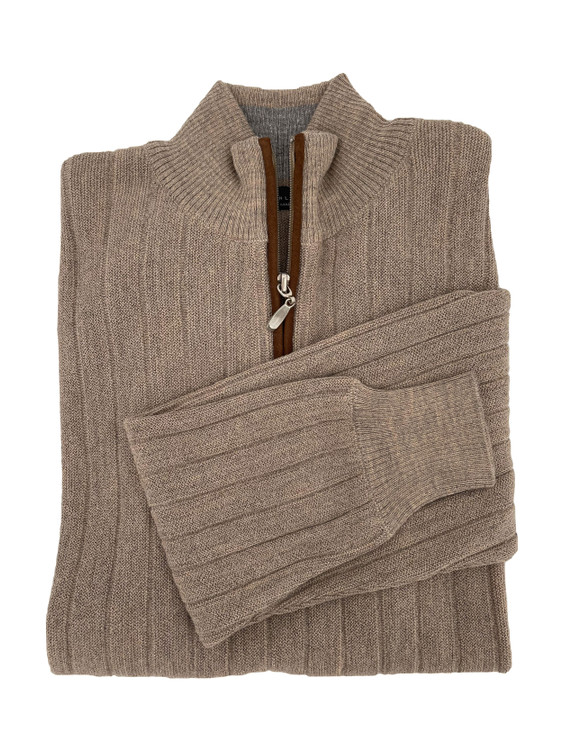 Royal Alpaca Link Stitch 1/2 Zip Mock Ribbed Sweater in Tan Heather by Peru Unlimited