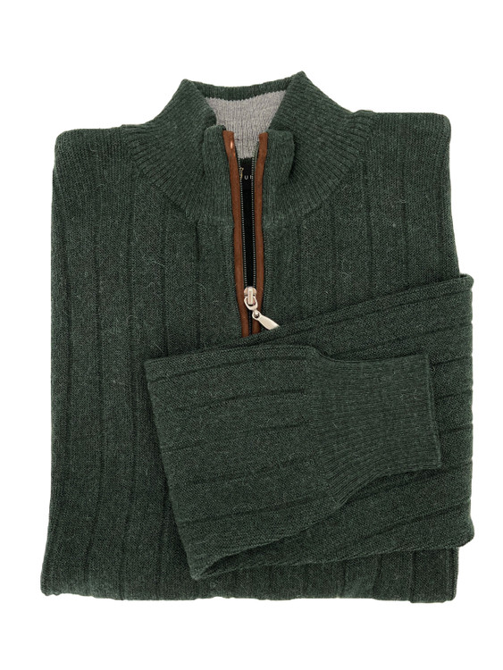 Royal Alpaca Link Stitch 1/2 Zip Mock Ribbed Sweater in Hunter Green Heather by Peru Unlimited