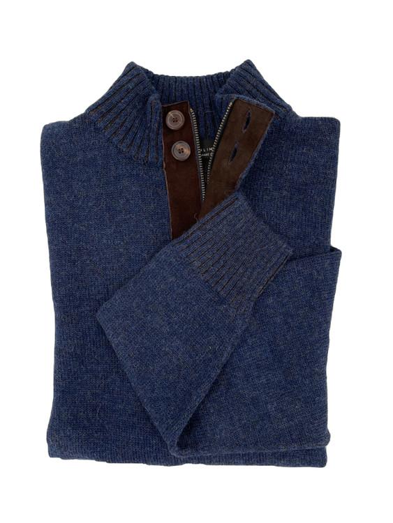 Royal Alpaca Jersey Stitch 2-Button 1/2 Zip Mock Sweater in Midnight Heather/Chocolate Heather by Peru Unlimited