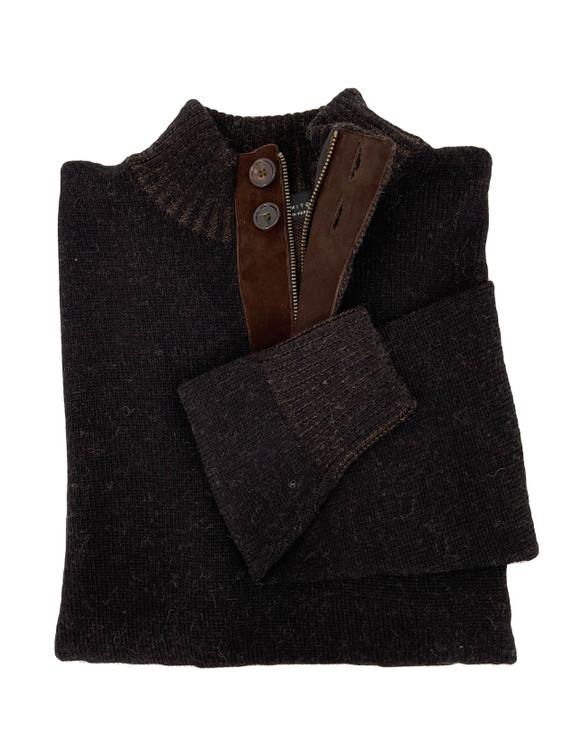 Royal Alpaca Jersey Stitch 2-Button 1/2 Zip Mock Sweater in Black/Chocolate Heather by Peru Unlimited