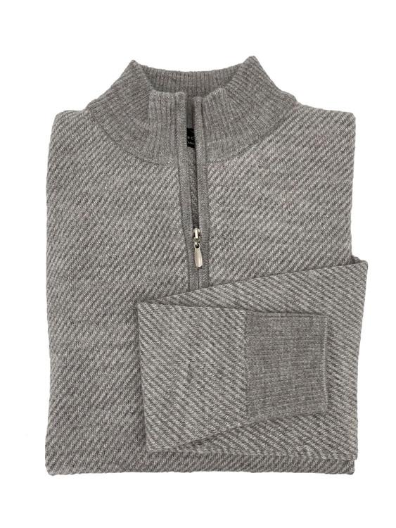 Royal Alpaca Diagonal Jacquard 1/2 Zip Mock Sweater in Silver Grey Heather/Light Grey Heather by Peru Unlimited