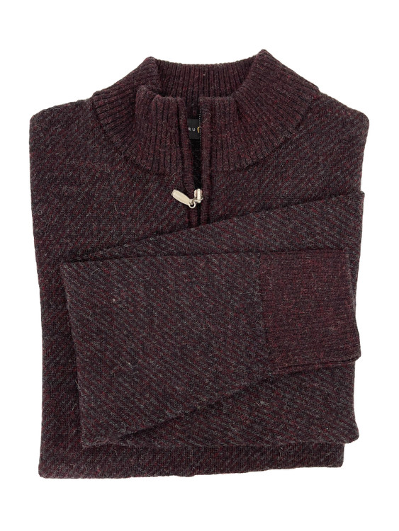 Royal Alpaca Diagonal Jacquard 1/2 Zip Mock Sweater in Wine Heather/Charcoal Heather by Peru Unlimited