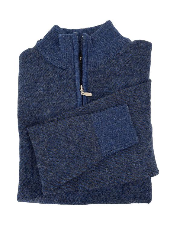 Royal Alpaca Diagonal Jacquard 1/2 Zip Mock Sweater in Midnight Heather/Charcoal Heather by Peru Unlimited