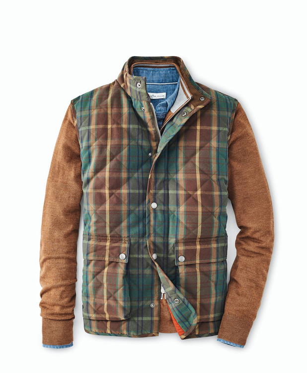 Waxed Cotton Tartan Vest in Olive by Peter Millar