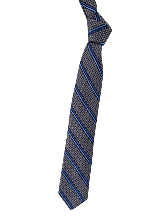 Best of Class Grey, Navy and Light Blue Stripe Woven Silk Tie by Robert Talbott