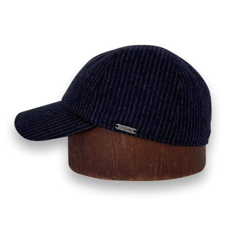 Baseball Cap in Black Pinstripe by Wigens