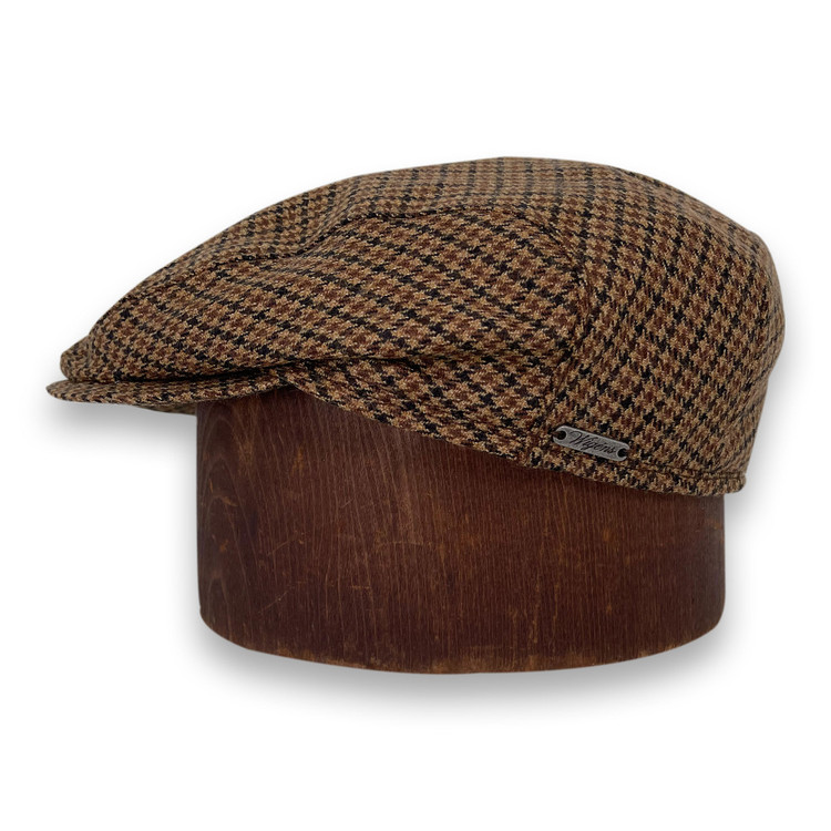 Ivy Slim Cap with Earflaps in Dark Camel Dogtooth by Wigens