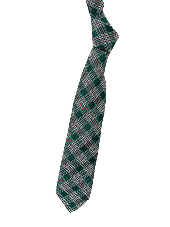 Best of Class Green, Red and White Plaid Woven Silk Tie by Robert Talbott