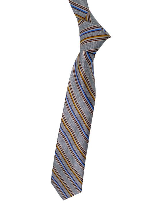 Silver, Gold and Blue Stripe Woven Silk Estate Tie by Robert Talbott