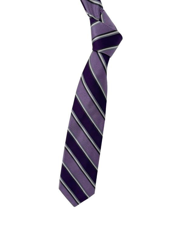 Purple, Lavender and Grey Stripe Woven Silk Tie by Robert Talbott
