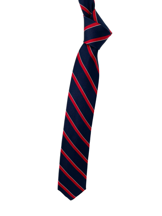 Navy, Red and White Stripe Unlined Woven Silk Tie by Robert Talbott